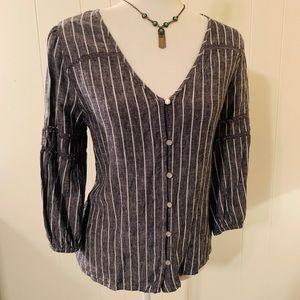 Linen Blend Striped V Neck 3/4 Sleeve Blouse